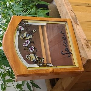 Vintage wooden stained glass spice cabinet